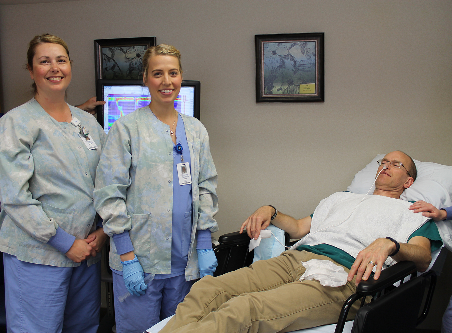 Nurses conduct Esophageal Motility Test on Dr. Kloss.