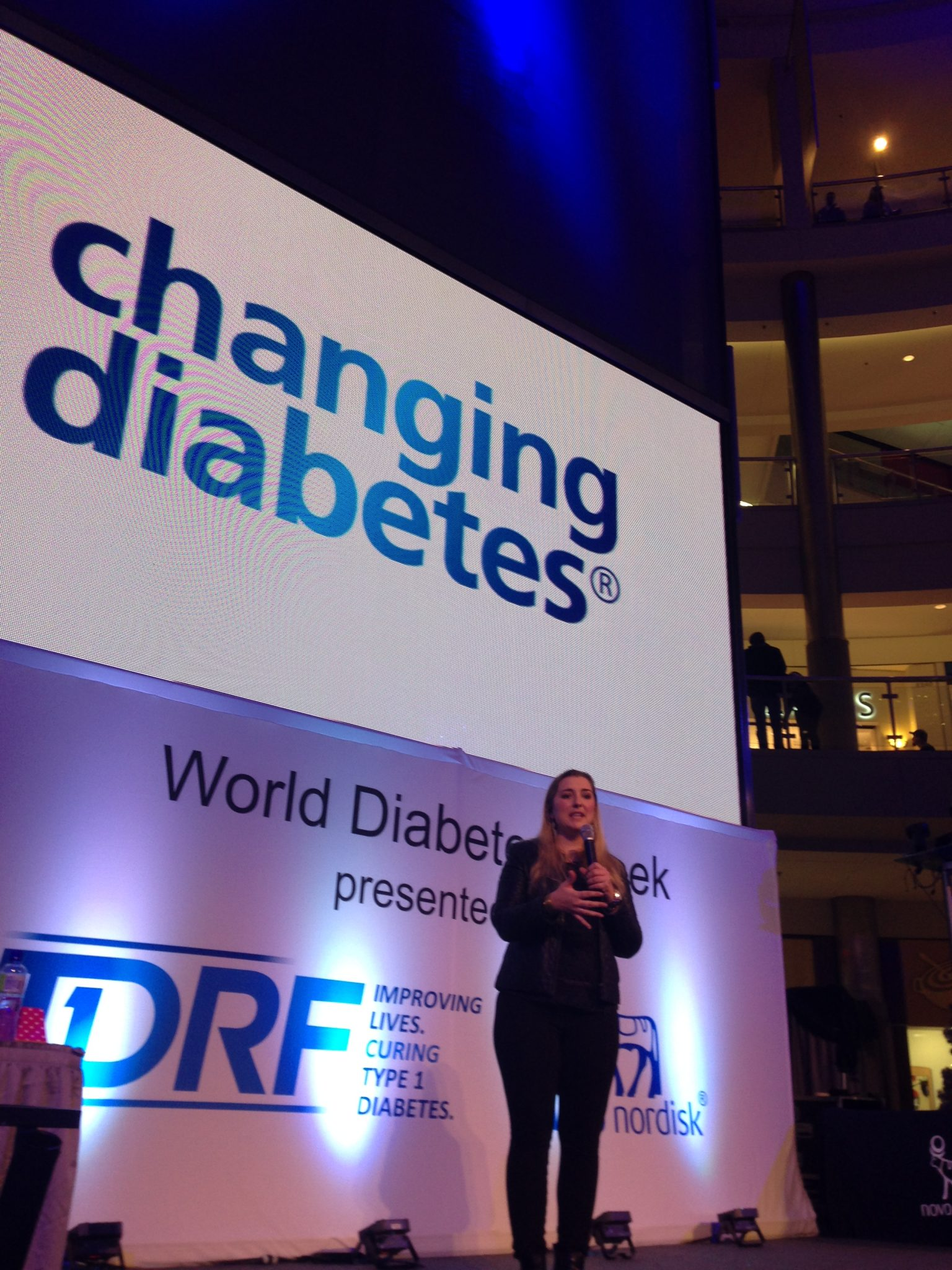 Quinn speaking at the Mall of America this past November for World Diabetes Day.