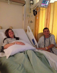 A photo of Holly and her son, Mark, as they see each other for the first time after the organ donation transplant procedure.