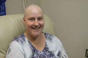 Cancer patient, Stephanie Sellin,, receiving chemo treatment.