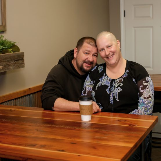 Cancer patient, Stephanie, with her husband.
