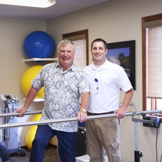 Bill Pedrow received physical therapy at the Henning Physical Therapy Clinic.