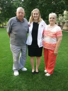 Andee and her grandparents, who are part of her family.