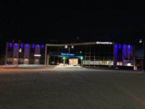 The outside of Tri-County Health Care building is lit blue in recognition of Colorectal Cancer Awareness Month.