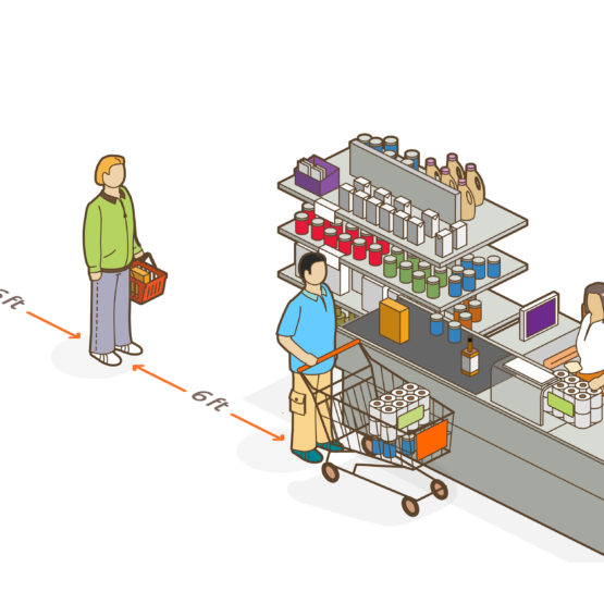 social distancing in the supermarket