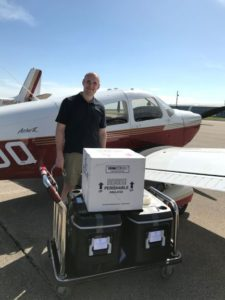 Angel Flight pilot received breast milk donation from Tri-County Health Care to take back to the Minnesota Milk Bank For Babies.
