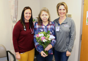 Addiction Relief: Laura DuChene, M.D., patient, and Shelley Glenz, RN Tri-County Health Care